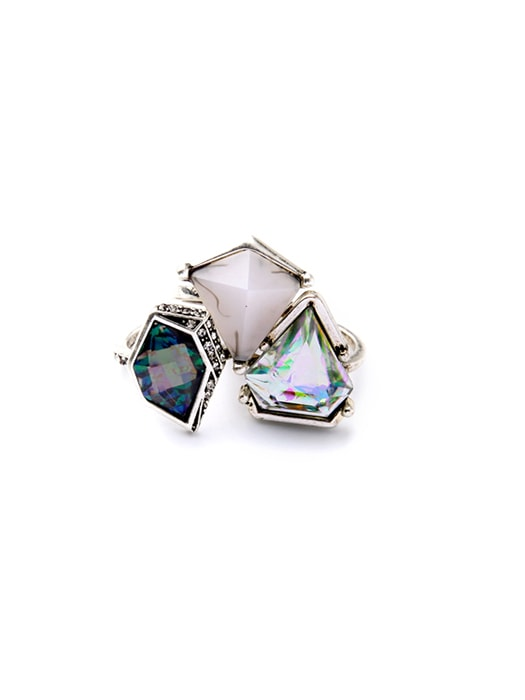 Cluster Geometric Figure Jewel Occasion Stud Ring
