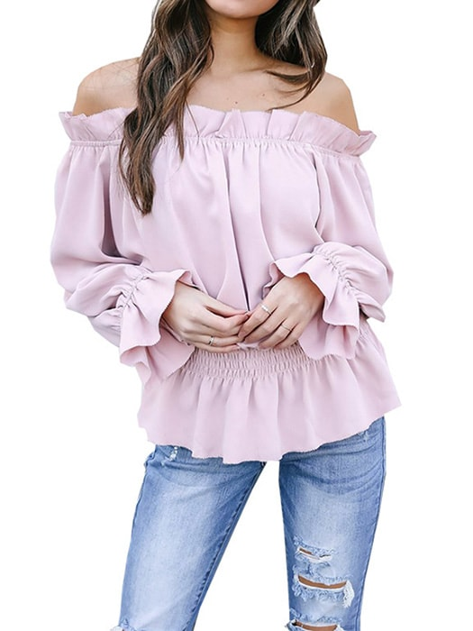 bb292c97ff2595 Ruffled Bardot Neck Tunic Top With Peplum – WhatsMode