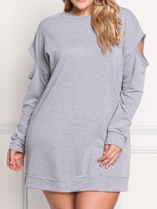 Grey Oversized Sweatshirt with Cut Out Shoulders