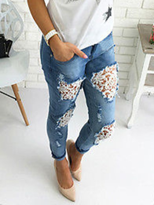 Lace Spliced Stretch Ripped Jeans