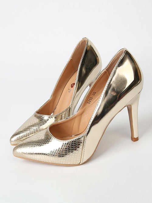 Snake Skin Point Heel Pump In Gold