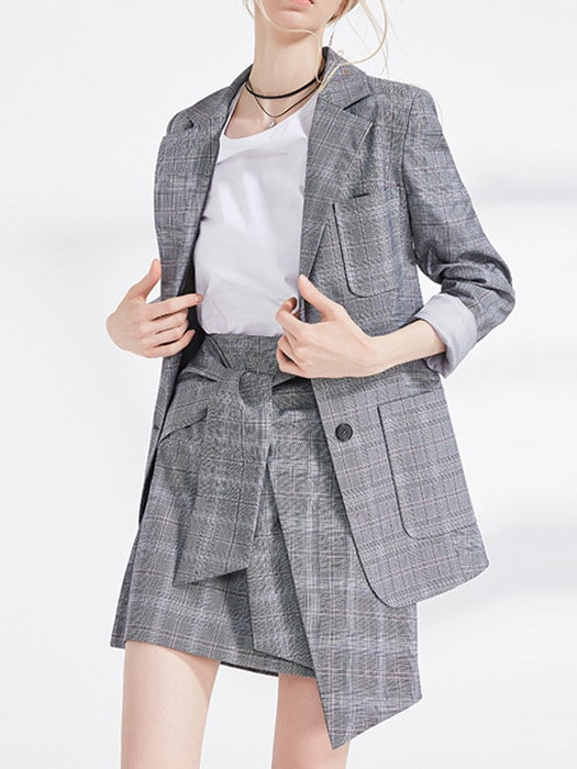 Notched Lapel Checked Oversize Coat With Pockets