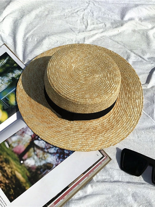 Beach Straw Boater Hat With Black Band
