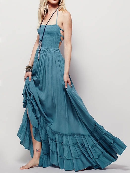 Backless Pure Color Cotton Maxi Dress