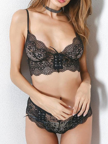 Sexy Satin Lace Embroidery Bra Sets