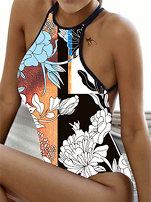 565b6f6901 Chocker Neck Strappy Floral Print Swimsuit – WhatsMode