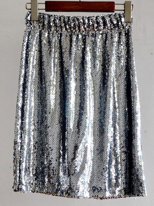 Elasticated Waist A Line Skirt With Sequin Detail