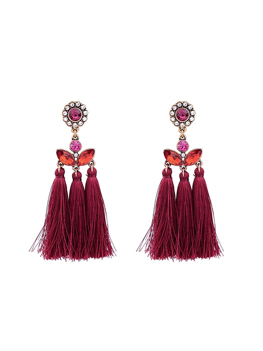 Faux-gem Tassel Drop Stud Earrings