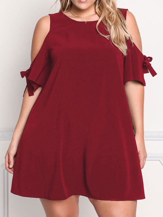 Cut Out Shoulder Knit Loose Dress