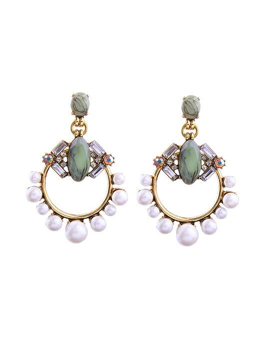 Emerald Vintage Inspired Faux-pearl Earrings - One Size / Emerald 23912VL-F-Emerald