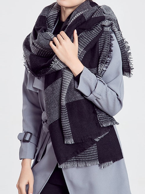 Cozy Oversized Plaid Woven Scarf