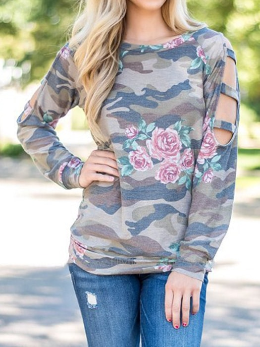 Cut Out Floral Camo Top