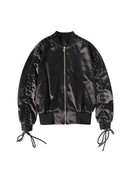 Satin Laced Up Biker Jacket With Elastic Hem