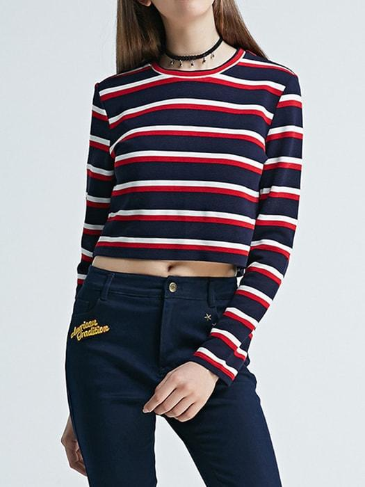 Crew Neck Color Block Stripe Crop Top