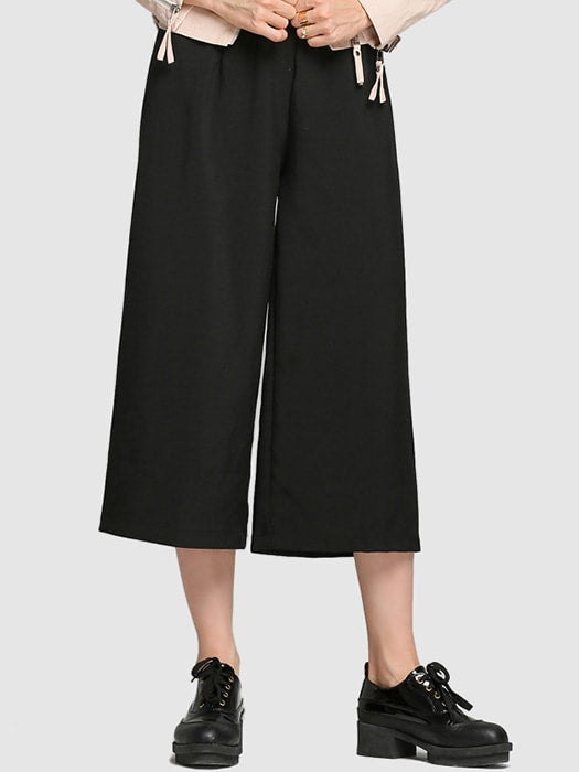 Wide Leg Capri Pants In Black - L / Black 17599