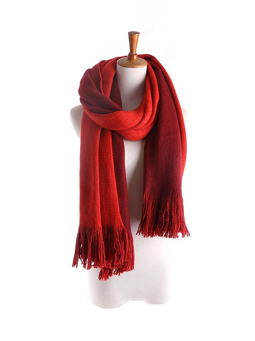 Solid Color Fringed Woven Scarf