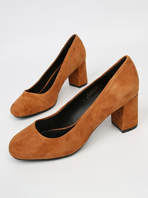 Faux Suede Mid Heeled Pumps