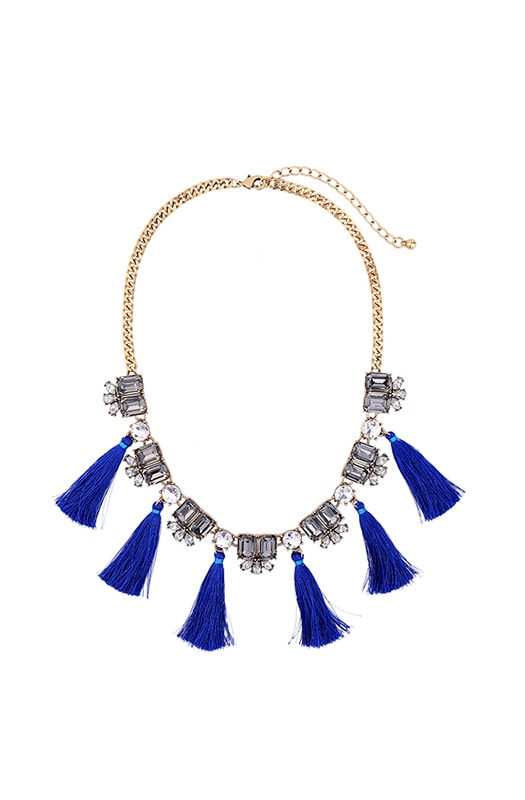 Rhinestone & Tassle Statement Necklace