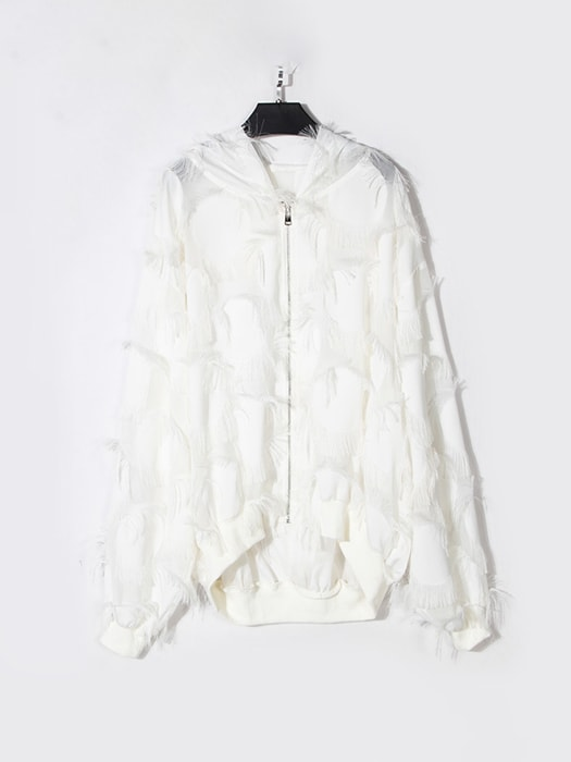 Tasseled Chiffon Hooded Bomber Jacket