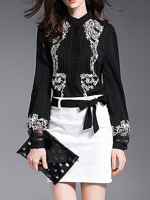 Vintage Embroidered Bubble Sleeve Chiffon Blouse