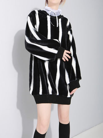 Drop Shoulder Atactic Oversize Sweatshirt With Ribbon