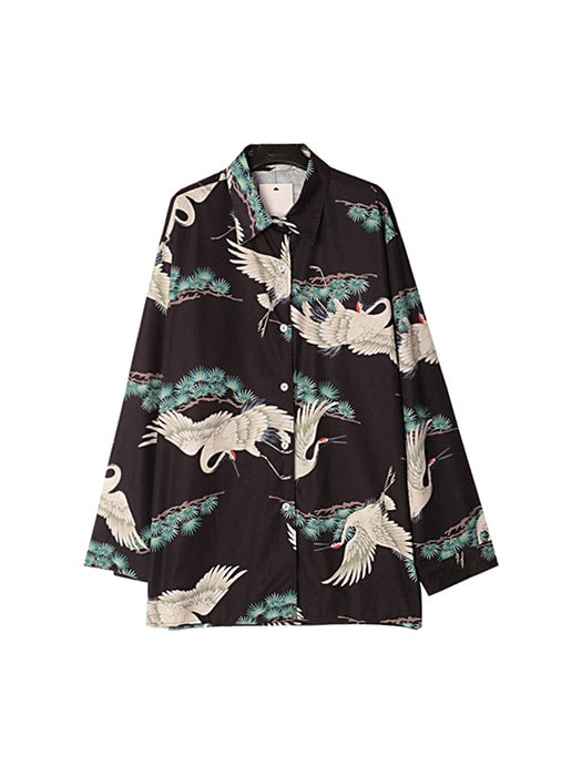 Point Collar Floral Oversize Kimono Look Top