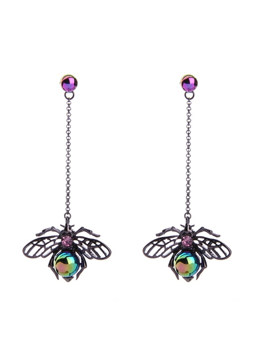 Insect Pattern Faux-gem Stud Earrings