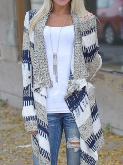 Fashion Retro Vibe Open Front Knit Cardigan