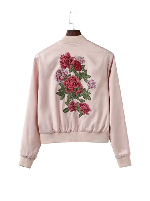 Floral Embroidered Bomber Jacket In Pink