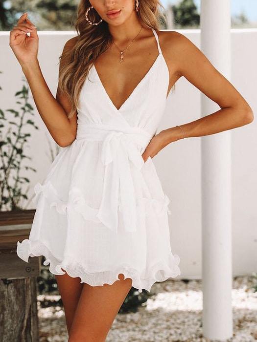 V Neck Girdling Backless Mini Dress