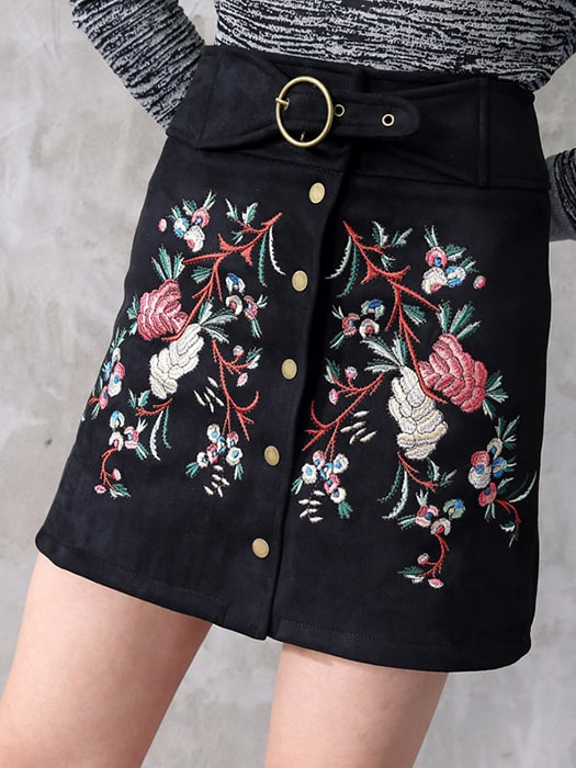 Button Through Mini Skirt With Embroidery