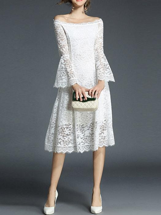 Cutwork Lace Bardot Neck Midi Dress With Flared Sleeves