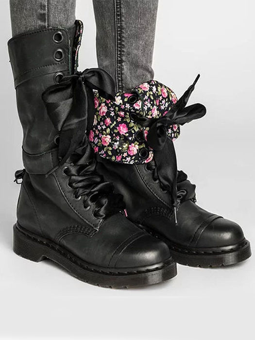 Cool PU leather Lace-up Middle Martin Boots