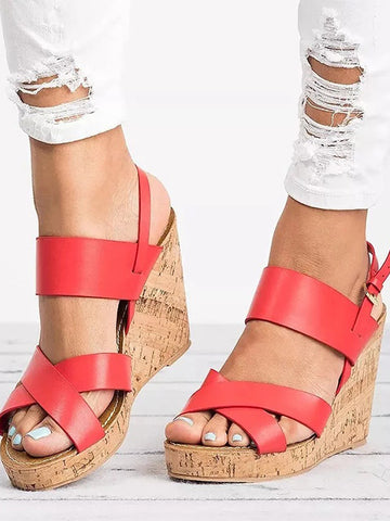 Wedge Heel Fish Mouth Pure Color Sandals