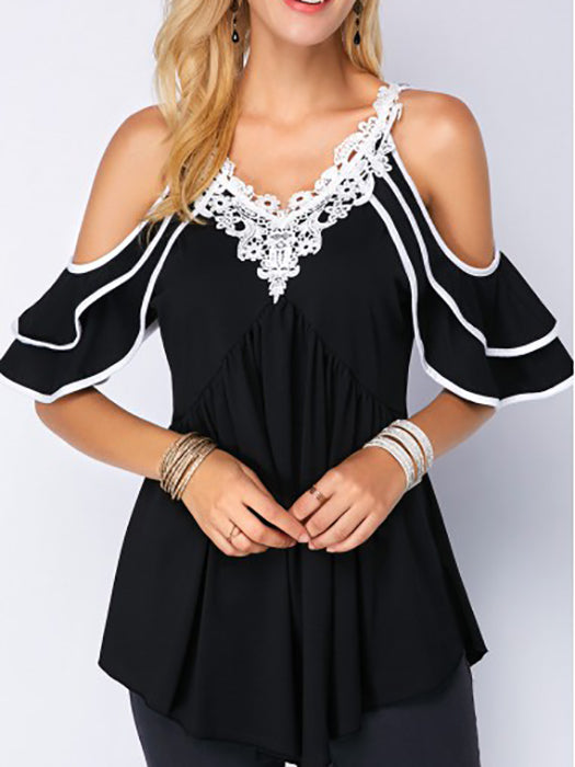 9e4eb957b765f Plus Size Tiered Sleeve Cold Shoulder T-shirt – WhatsMode