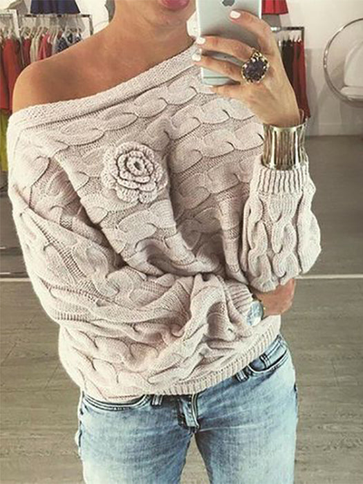 Flower Decoration Pullover Boat Neck Bat Sleeves Sweater