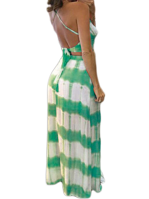 Tie Dye Backless Slim Two-piece Dress Without Necklace