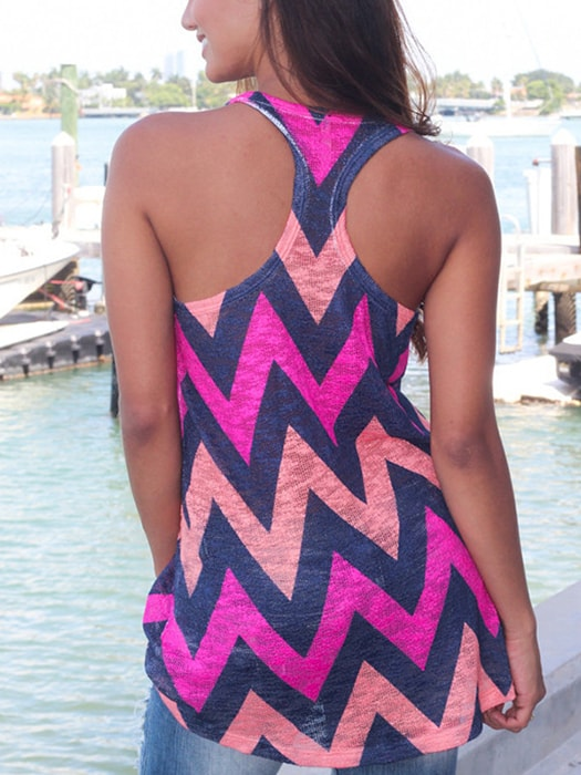 Lace Up Wave Print I-shaped Vest