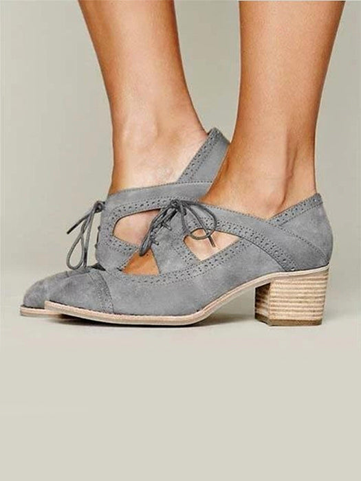 Fashion Cutout Lace-up Low Heel Oxford Shoes