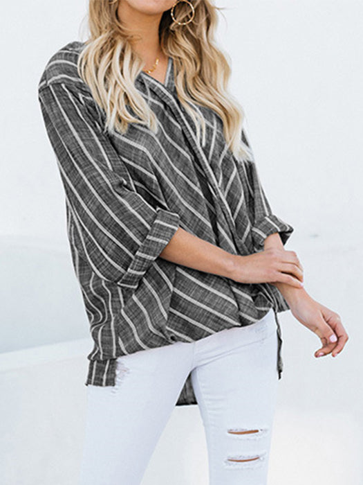 Casual Striped Long Sleeve Asymmetric Blouses Tops