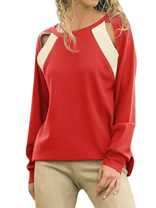 Crew Neck Cutout Long Sleeve Solid T-shirts