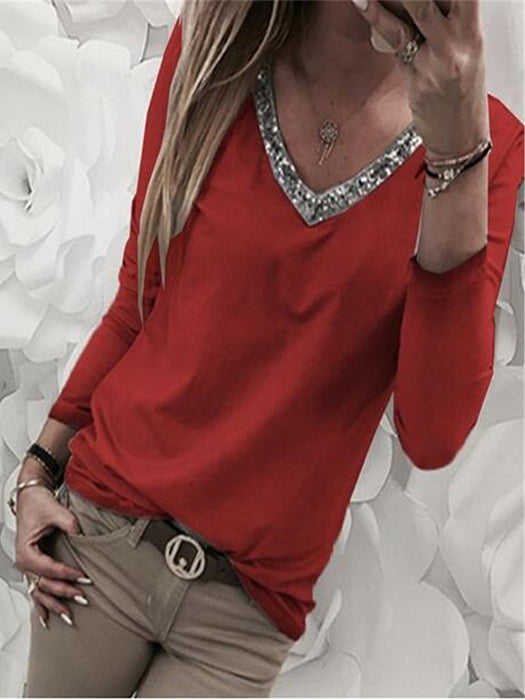 Fashion Casual V-neck Sequins Long Sleeve Shirt