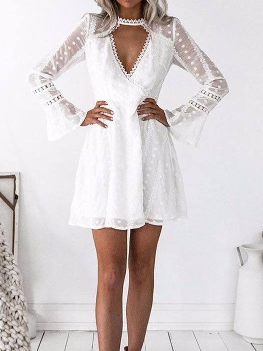 Cut Out Collar Lace Trims Bell Sleeve Dress