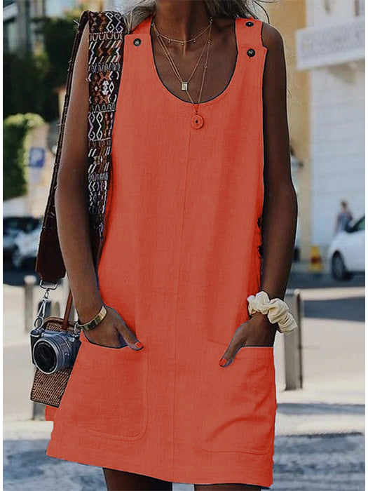 Solid Pocket Mini Dress without Necklace