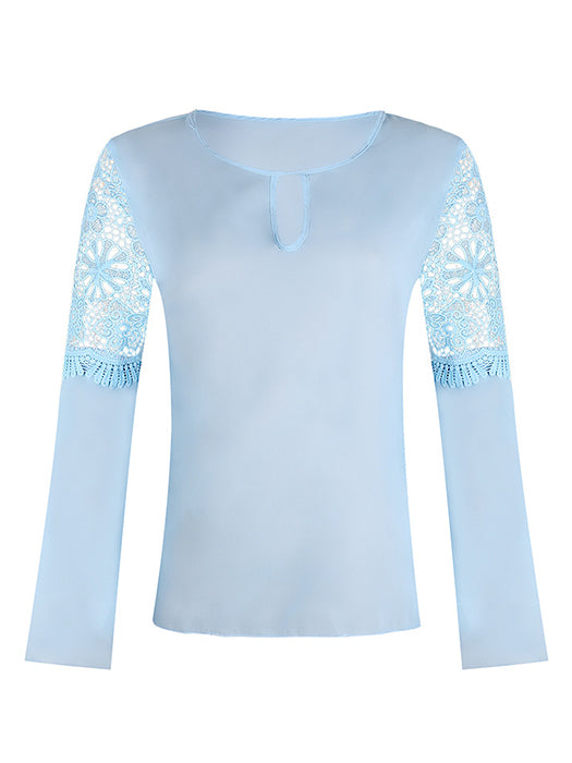 Solid Lace Hollow Batwing Chiffon Shirt