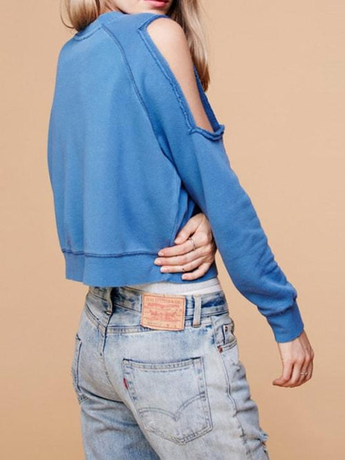 Cut Out Shoulder Solid Umbilical Sweatshirt
