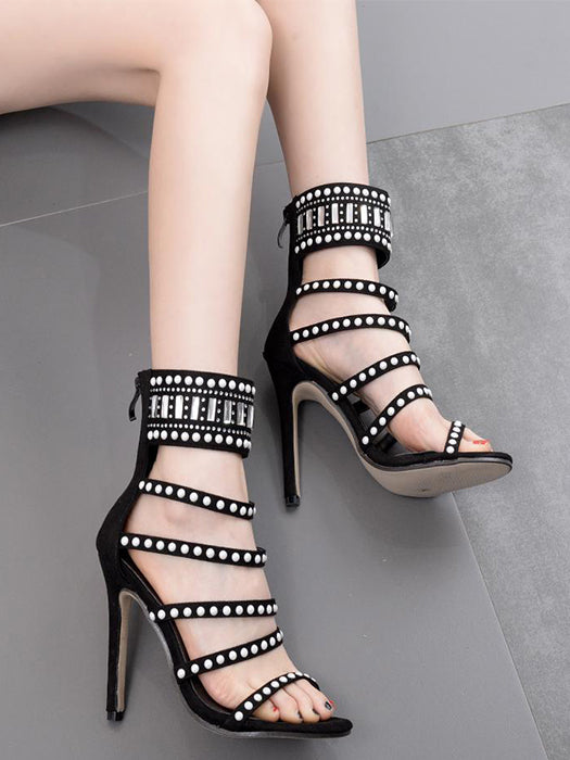 Beading Ladder Cutout Stiletto Sandals