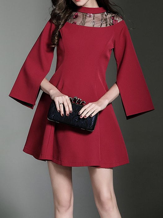 Embroidered Mesh Split Sleeve Mini Dress