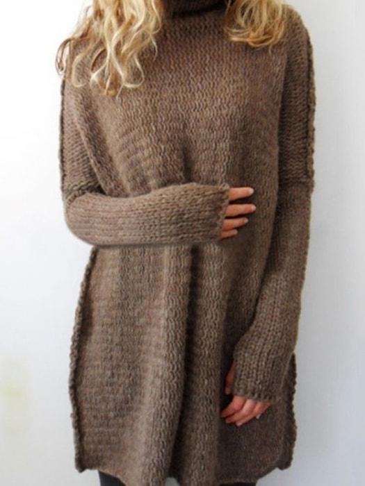 Oversize Turtle Neck Long Sleeve Solid Color Sweater
