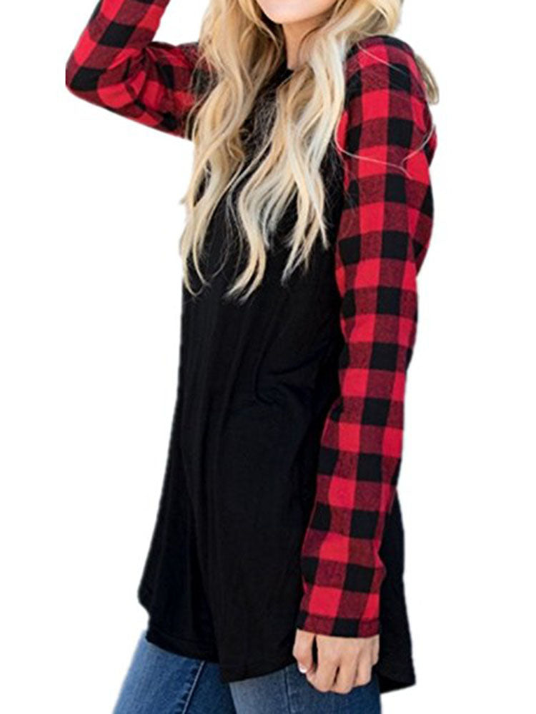 Solid Shirt With Checked Sleeves